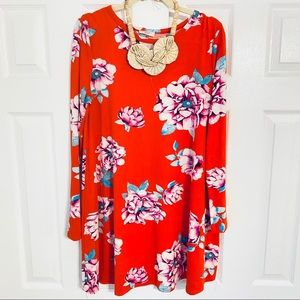 {Ping} Red Long Sleeve Floral Jersey Swing Dress